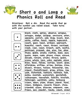 Short o and Long o Phonics Roll and Read