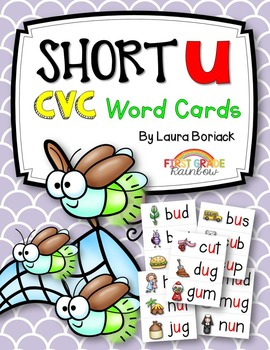 Short u CVC Word Cards