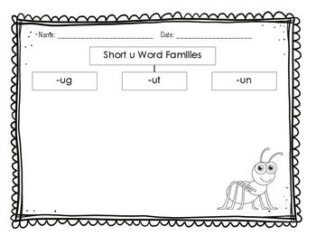 Short u Word Families Tree Map