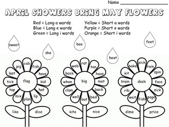 Short/Long Vowels Read and Color (April, May, Spring Theme)