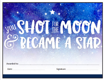 Shot for the moon - reward certificate