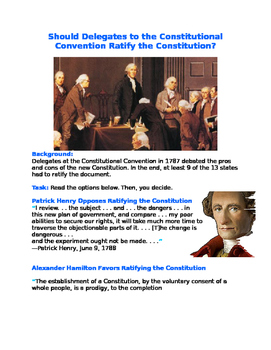 Should Delegates to the Constitutional Convention Ratify t