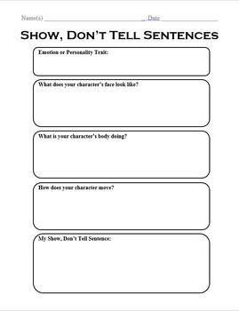 Show, Don't Tell Sentences