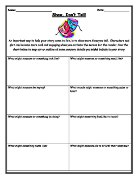Show, Don't Tell (Story Writing Organizer Handout)