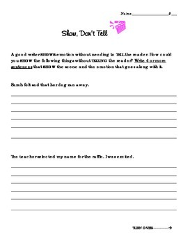 Show, Don't Tell Writing Activity