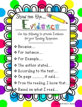Show Me The Evidence Reading Response Poster Bright Colors