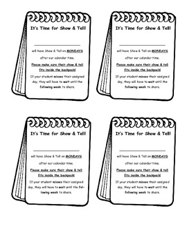 Show & Tell Notes Home