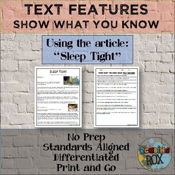 """Show What You Know About TEXT FEATURES """"Sleep Tight"""""""