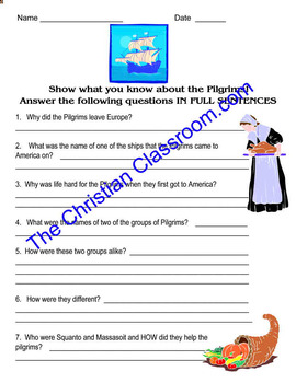 Show What You Know About the Pilgrims Question Worksheet or Quiz
