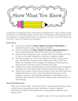 Show What You Know Formative Assessment for RTI