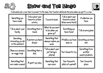 Show and Tell Bingo