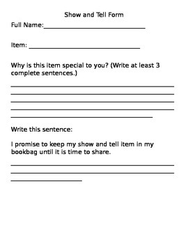 Show and Tell Form