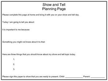 Show and Tell Planning Page