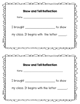 Show and Tell Student Reflection