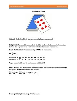 Show me the cards - Fraction Game