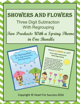 Showers and Flowers Bundle (Three Digit Subtraction With R
