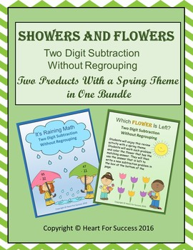 Showers and Flowers Bundle (Two Digit Subtraction Without