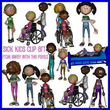 Sick Kids Clip Art - Now including blacklines!