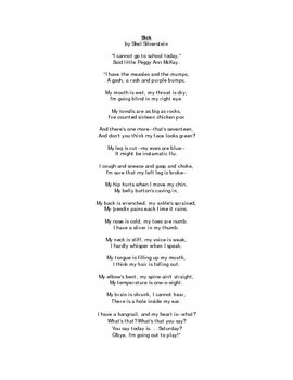 Sick by Shel Silverstein Poem and Questions