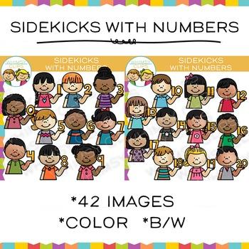 Sidekicks with Numbers Clip Art