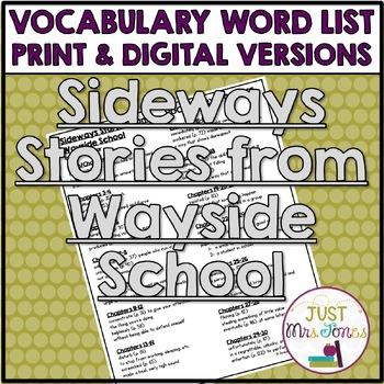 Sideways Stories from Wayside School Vocabulary Word List