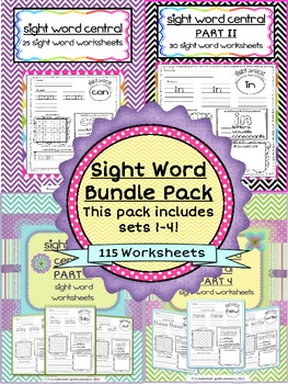 "Sight Word Activities ""Bundle Pack"" Sets 1-4"