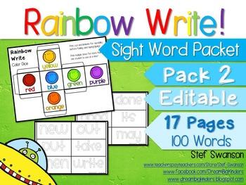 Sight Word Activities! Rainbow Write {EDITABLE}