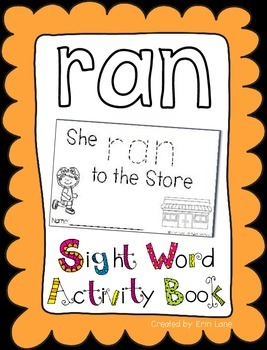 "Sight Word Activity Book: ""Ran"""