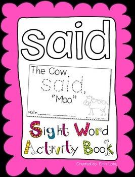 "Sight Word Activity Book: ""Said"""