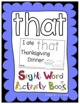 """Sight Word Activity Book: """"That"""""""