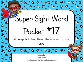 Sight Word Activity Packet #17