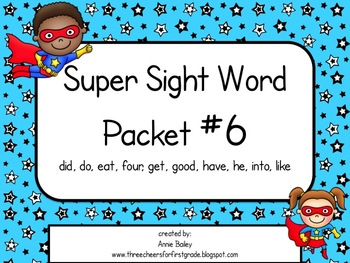 Sight Word Activity Packet #6