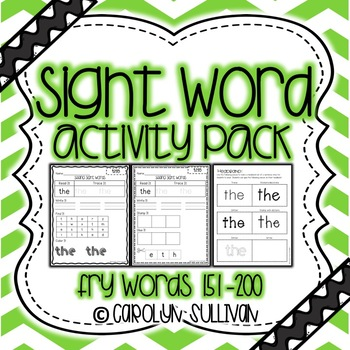 Sight Word Activity Packet- Fry Words 151-200