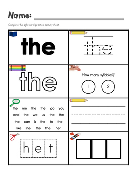 Sight Word Activity Sheets-Fry Words 1-20