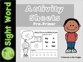 Sight Word Activity Sheets (Pre-Primer)