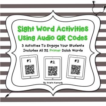 Sight Words Audio QR Code Activities: Primer