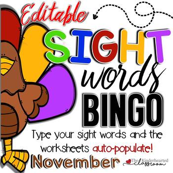 Sight Word BINGO - November - Editable!!!