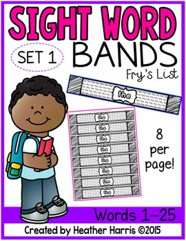 Sight Word Bands or Bracelets Set 1