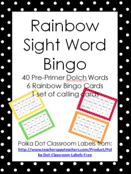 Sight Word Bingo - 40 Dolch Pre-Primer Sight Words - Rainb