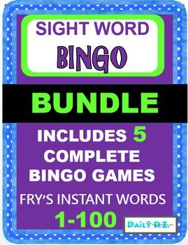 Sight Word Bingo BUNDLE - Fry's Instant Words 1-100 (Inclu