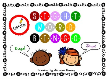 Sight Word Game - EDITABLE!!! + Video