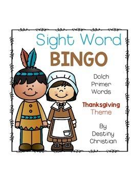 Sight Word Bingo {Dolch Primer} Thanksgiving Theme