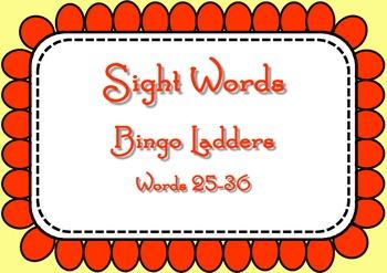 Sight Word Bingo Ladders - words 25-36
