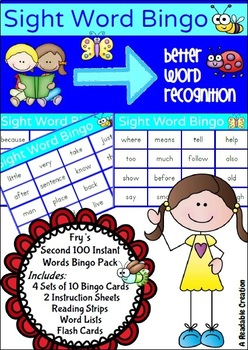 Sight Word Bingo Pack - Fry's Second Hundred Words