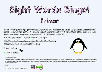 Sight Word Bingo Primer Class Set