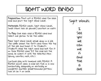 Sight Word Bingo Set 1