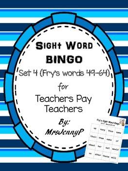 Sight Word Bingo Set 4 (Fry's words 49-64)