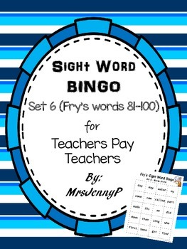 Sight Word Bingo Set 6 (Fry's words 81-100)