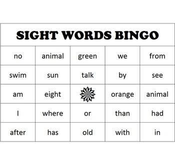 Sight Word Bingo - full set