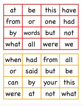 Sight Word Blackout 20-40